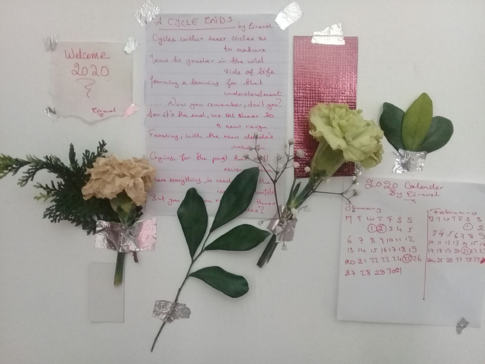 2020 Wall art with handwritten poem, calendar, and flowers